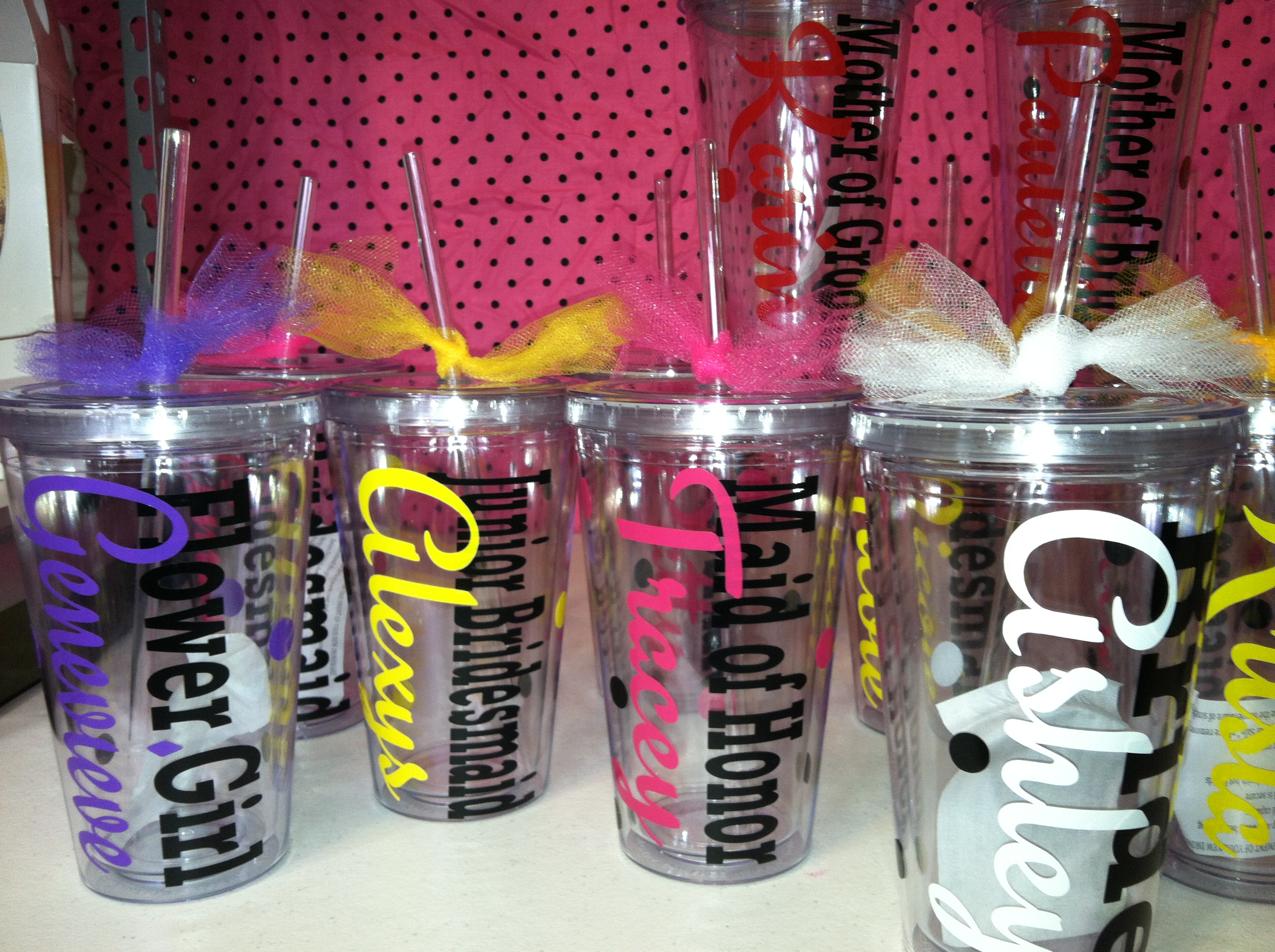 9 Personalized Acrylic Cups With Lids And Straws Great For Wedding Parties